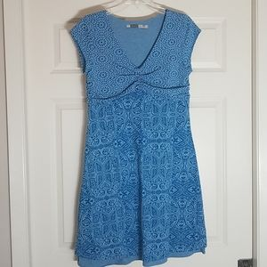 Athleta blue layered burnout Dhara dress